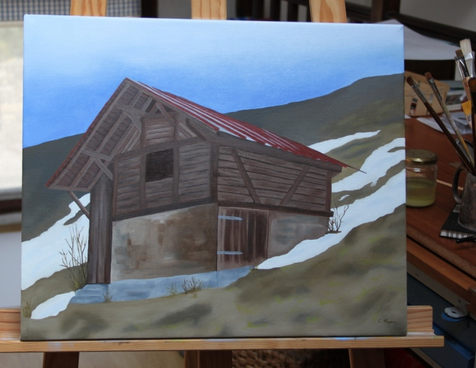 The swiss barn oil painting