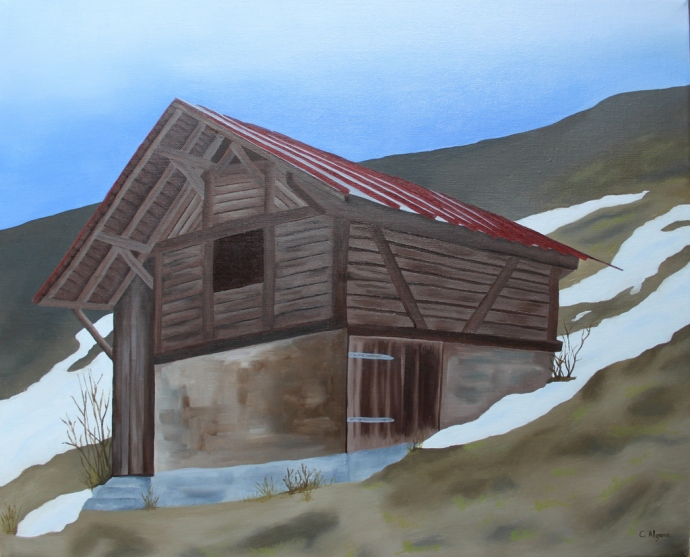 Swiss barn oil painting